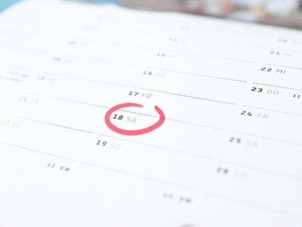 Abfuhrtermine, Kalender mit markiertem Datum