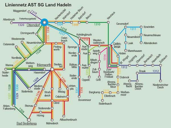Anruf-Sammeltaxi Streckennetz mit Haltestellen
