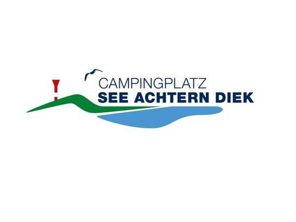 Logo, grünblaue Welle mit Leuchtturm und fliegender Möwe