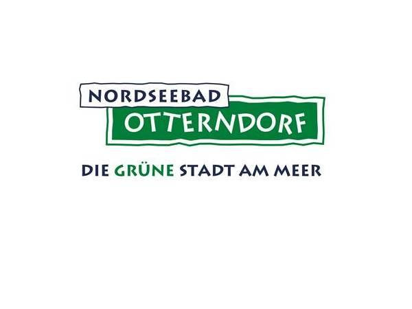 blaugrüner Schriftzug Nordseebad Otterndorf, Die Grüne stadt am Meer