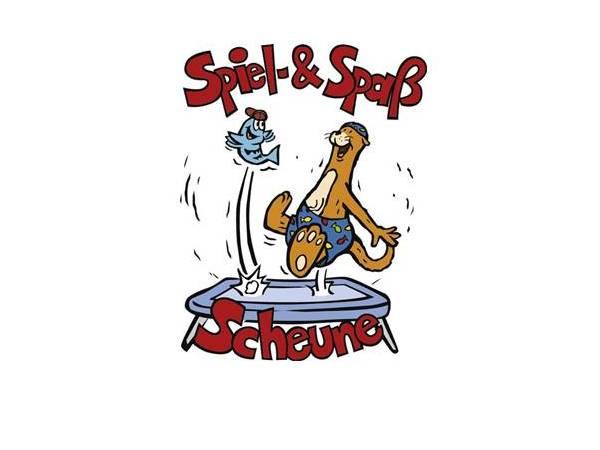 Figur Otti Otter mit Fisch, Schriftzug Spiel- & Spaß-Scheune